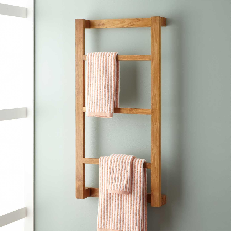 Wulan Teak Hanging Towel Rack | Hanging towels, Teak and Towels