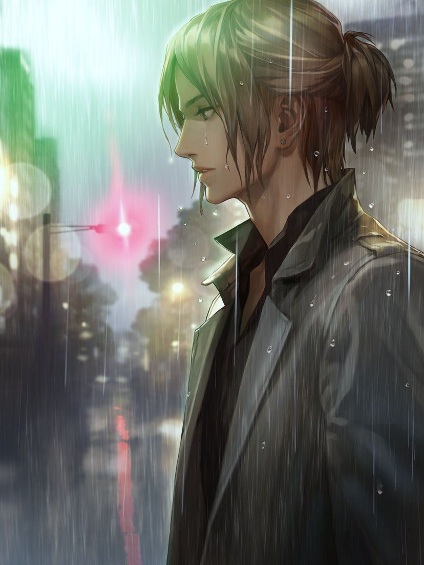 Handsome Bishounen Man With Brown Hair And An Earring Standing In The Rain On The Street Crying In The Rain Misce Handsome Anime Cute Anime Boy Cosplay Anime