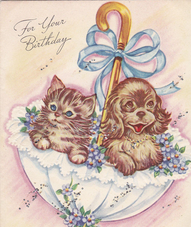 1940s Kitten Puppy Birthday Card Vintage Birthday Cards Vintage Greeting Cards Happy Birthday Vintage