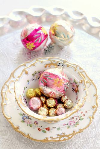 citrusandorange always has such pretty things.  Vintage teacups for Christmas decor