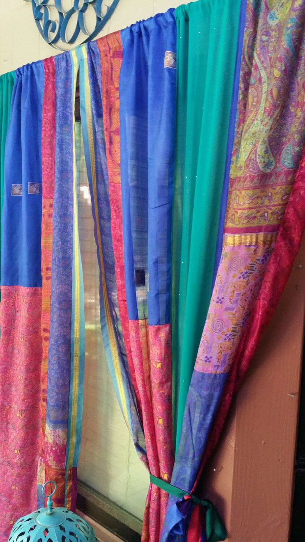 Purple silk curtains - Saree Sari Curtains In Stock Patchwork Blue Eden Gypsy Bohemian Curtains By Hippiewild India Sari Silk Boho Hippie Hippy