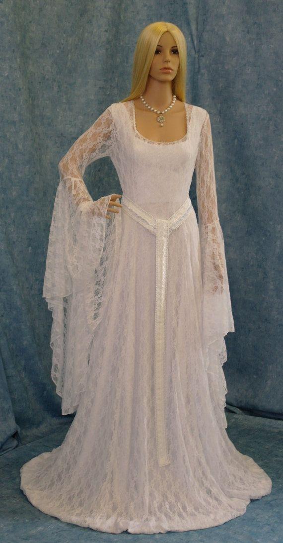 Galadriel white lace dress LOTR Renaissance medieval handfasting wedding custom made