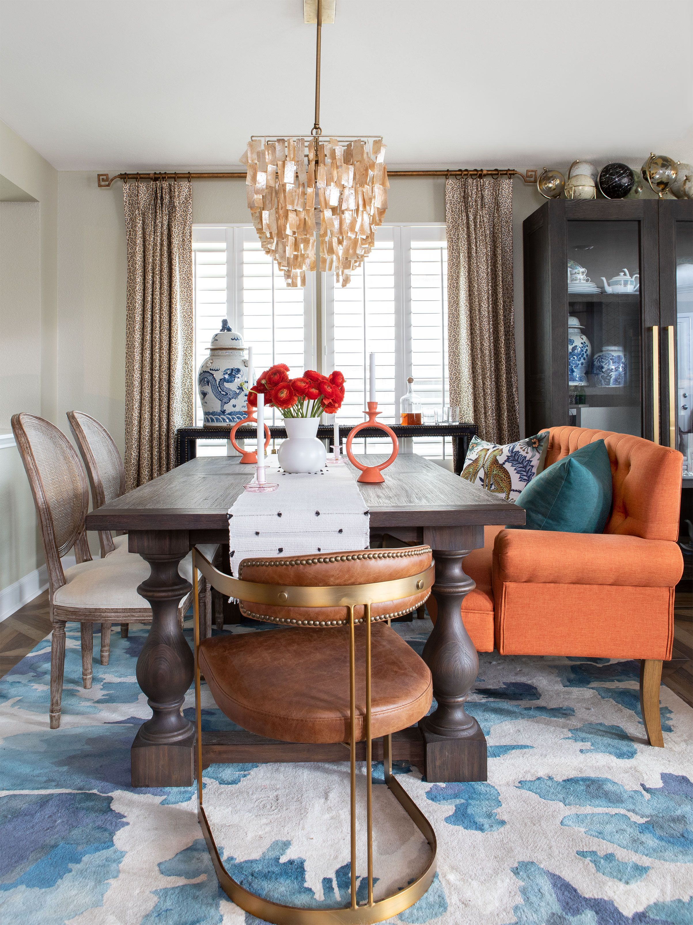 A Maximalist Dining Room Featured In Hgtv Magazine Eclectic Dining Room Fabric Dining Room Ballard Designs Chairs