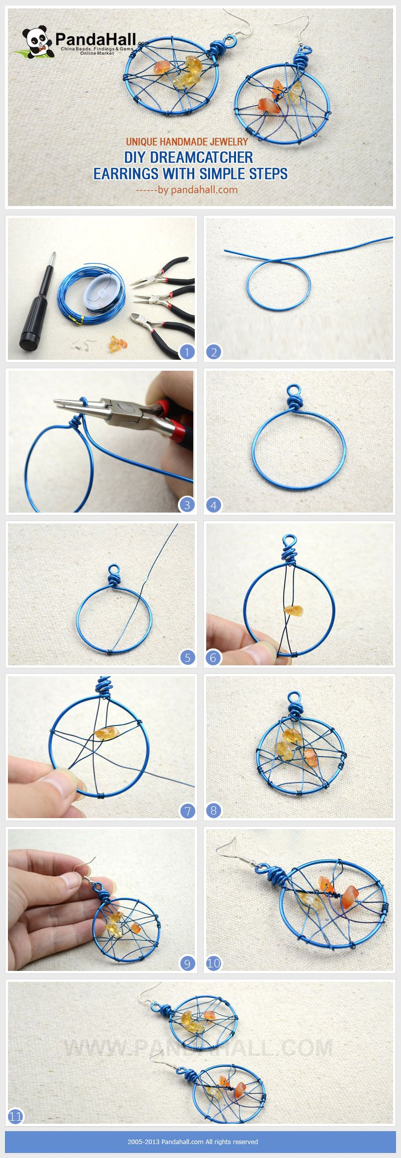 Unique handmade jewelry diy dreamcatcher earrings in 3 for How to make dream catchers easy