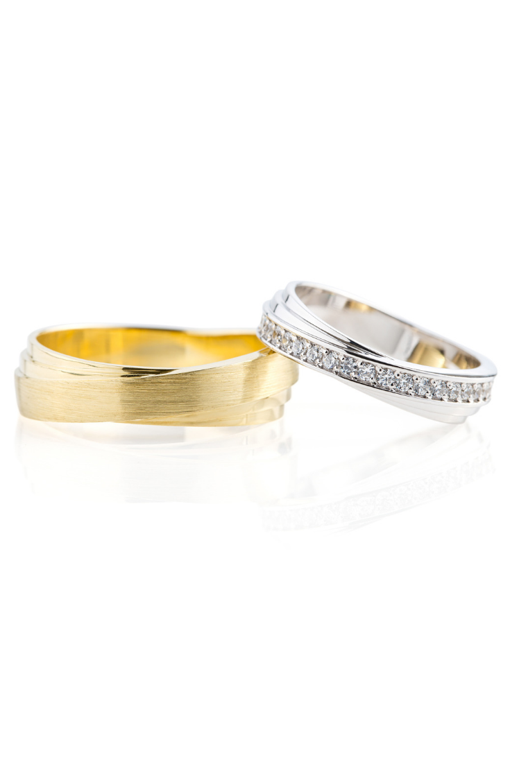 Matching Wedding Bands With Unique Twisted Design Gold Wedding