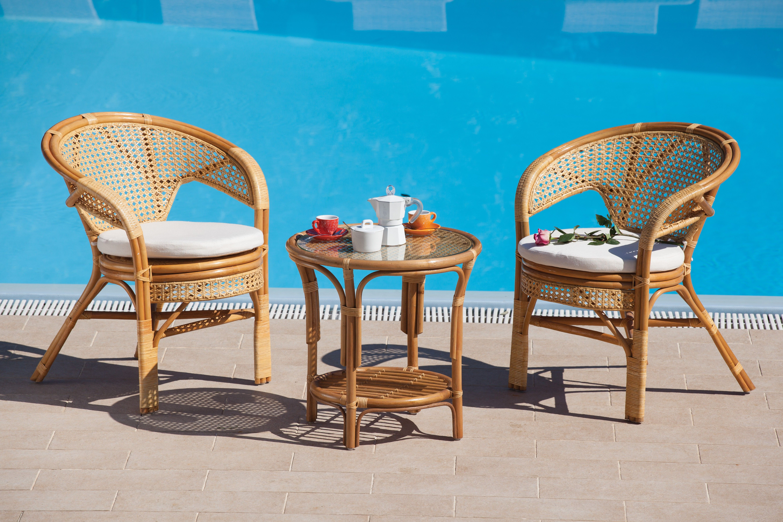 poltrona sedia in rattan con cuscino per arredo giardino