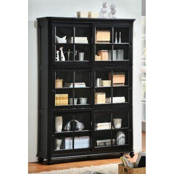 Homelegance Stackable Wood Bookcase With Sliding Glass Door