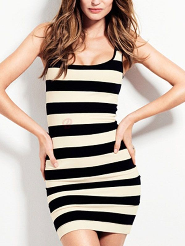 Round Neck Wide White Black Stripes Short Bodycon Tank Dress Plus