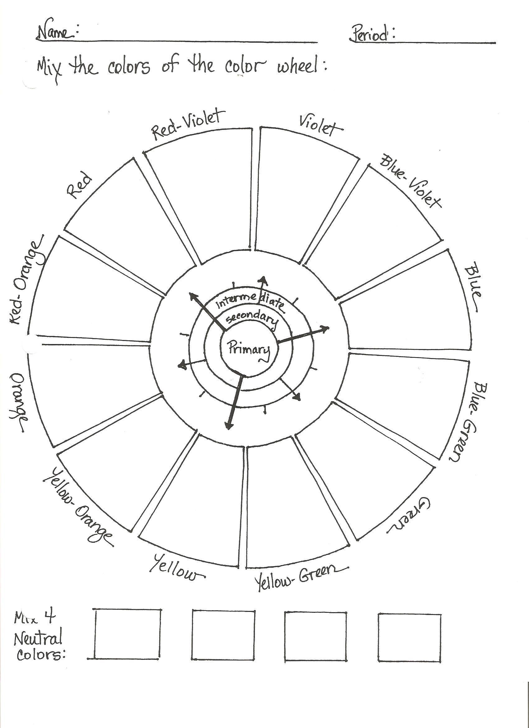 High School Color Wheel Worksheet Invitation Templates Teaching