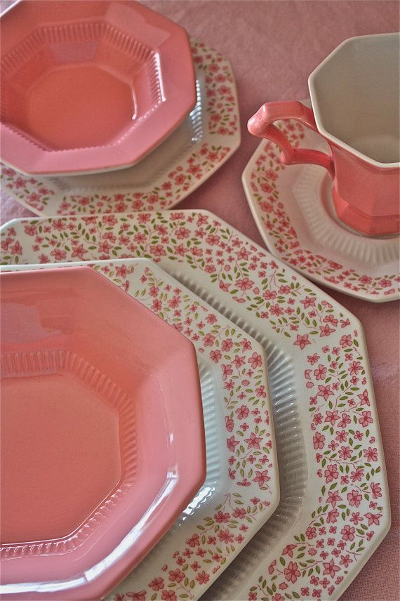 RESERVED FOR MARY- Mary jane Pink dinner set-pink China-Ironstone pink china & RESERVED FOR MARY- Mary jane Pink dinner set-pink China-Ironstone ...