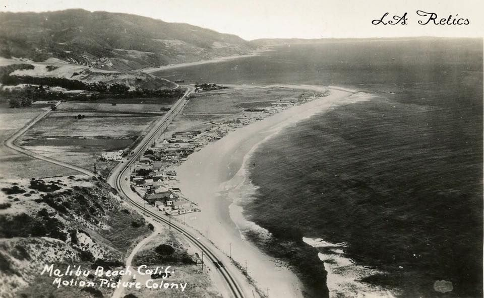 Aerial of Malibu Movie Colony and the Malibu Pier beyond, 1930s. Source -- Eric Wienberg Collection of Malibu Matchbooks, Postcards, and Collectables, Pepperdine University Special Collections and University Archives.