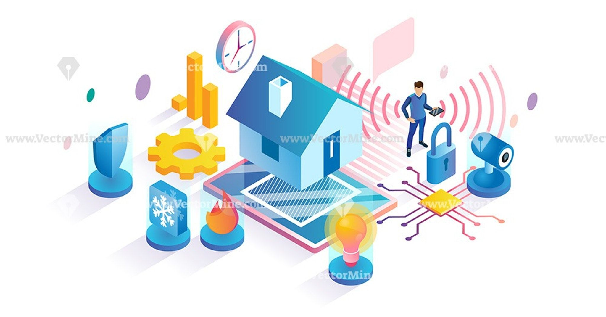 Smart home isometric vector illustration concept in 2020