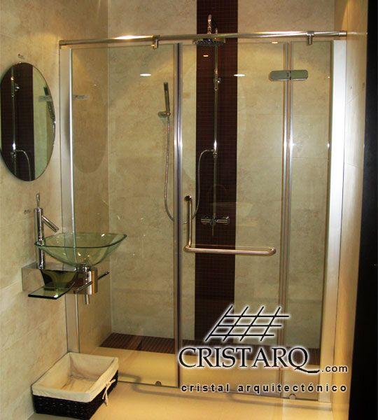 Cancel de cristal tempado y aluminio para regadera espejo - Cristales para banos ...
