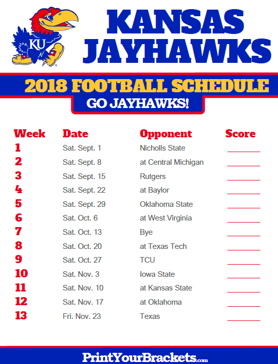 2018 Printable Kansas Jayhawks Football Schedule Kansas Jayhawks Football Kansas Jayhawks Kansas Football