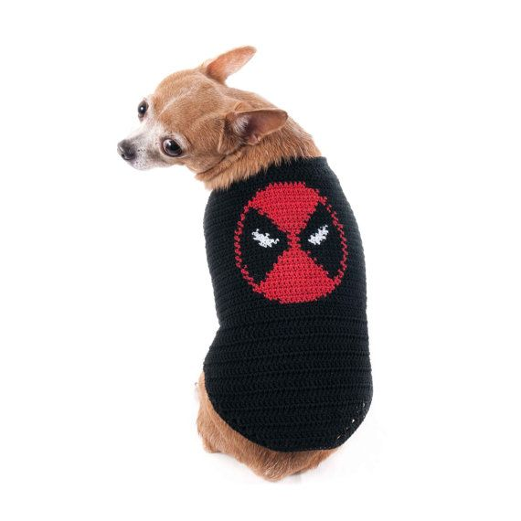 Deadpool Dog Costumes Marvel Superheroes Handmade Crochet Knit with ...