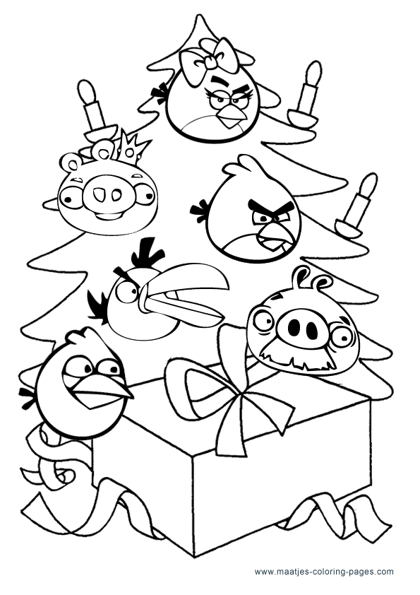 Free printable christmas angry birds coloring pagess for kids