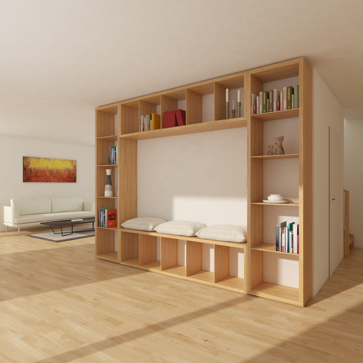 Wohnzimmer Regal mit Sitzbank  Holzhaus innen Mein Ideenhaus von Baufritz  Inneneinrichtung