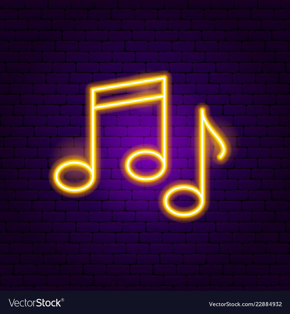 Music notes neon sign vector image on VectorStock in 2020