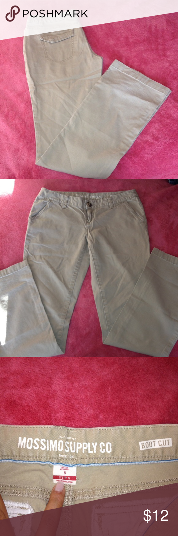 Missimo supply beige pants Boot cut size 6. Condition used but good Mossimo Supply Co. Pants Boot Cut & Flare