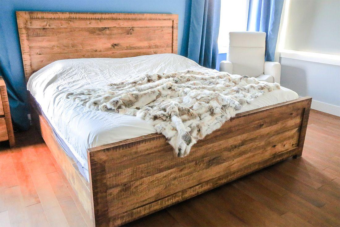 Forme De Lit à Coucher En Bois : Base de lit en érable rustique espace bois inspiration
