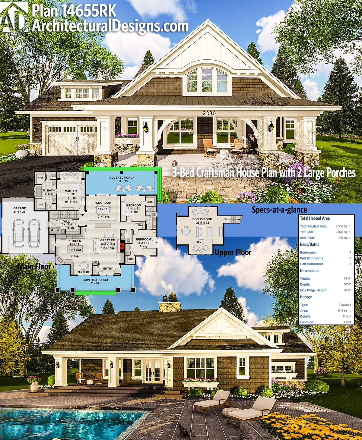 Architectural Designs Craftsman House Plan 14655RK has