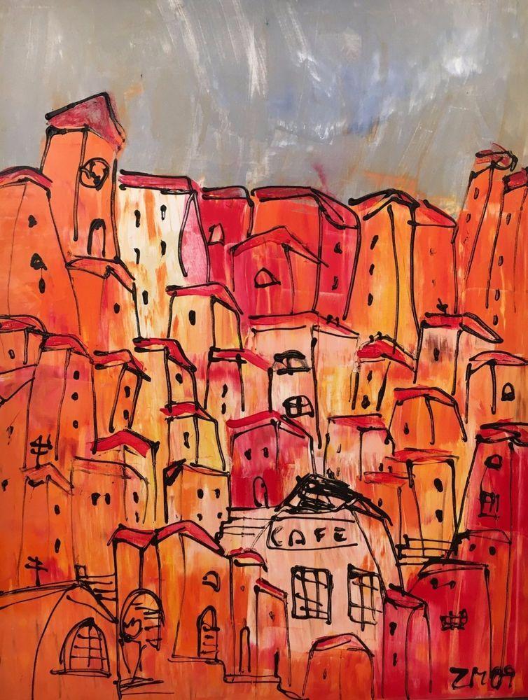 Rote Häuser Bilder ölbild malerei 80x100 sonja zeltner müller atelier düsseldorf rote