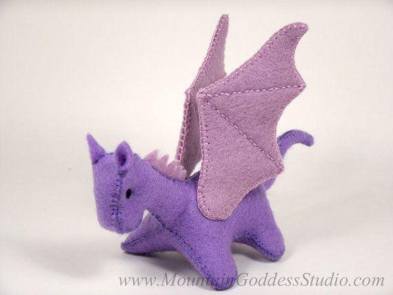 Miniature Lavender Felt Dragon Toy by MtnGoddessStudio on Etsy #feltdragon