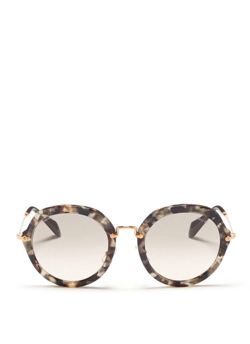 d5aefbc7a354 MIU MIU Metal temple round tortoiseshell frame sunglasses