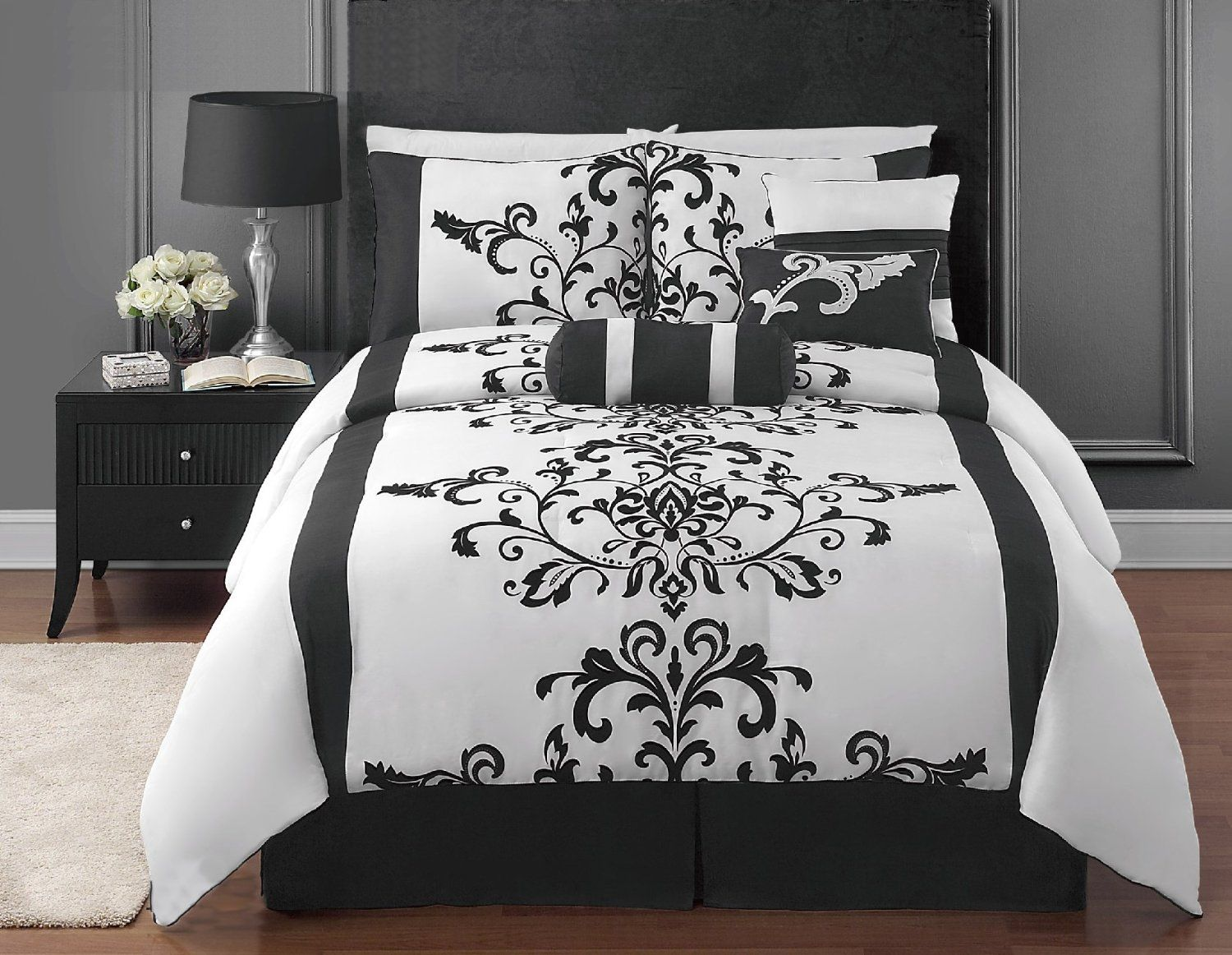 7 piece black and white flocking comforter set bed in a bag queen size. Black Bedroom Furniture Sets. Home Design Ideas