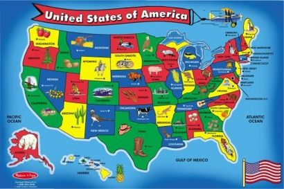 Melissa & Doug® Large Wooden USA Map Capitals and States Puzzle ...