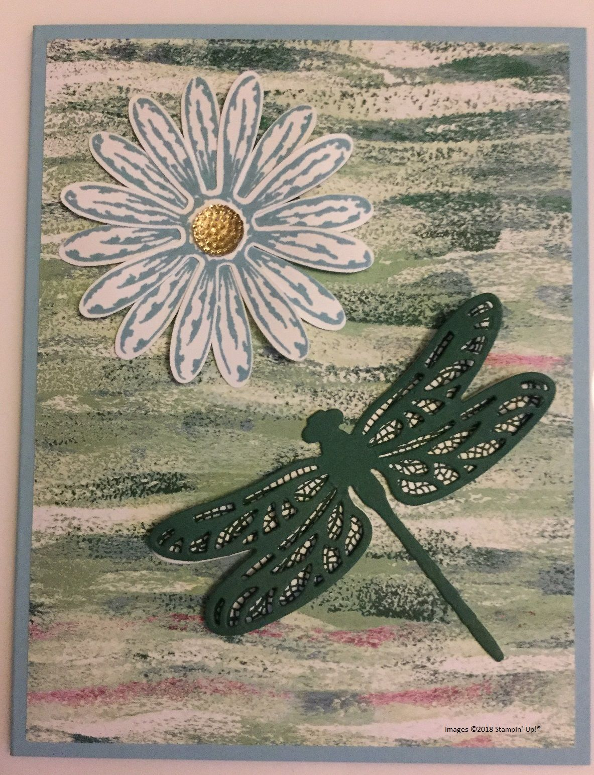 New blog post. Tranquil Daisy and Dragonfly Card. Cards