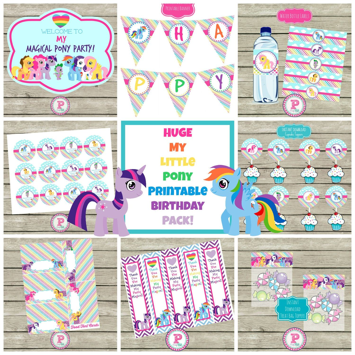 HUGE Party Printables Set My Little Pony by PartyPoshPrints