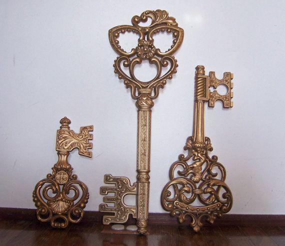 Antique Key Wall Art | Vintage Set of 3 Decorative Keys Wall Decor ...