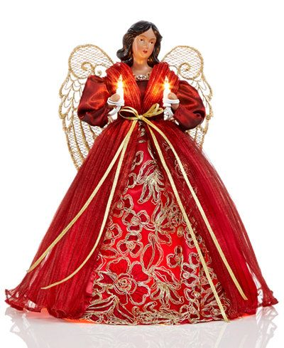 Holiday Lane African American Angel Tree Topper In Burgundy Dress Only At Macy S Burgundy Dress Burgundy Dress Fall Wine Colored Dresses