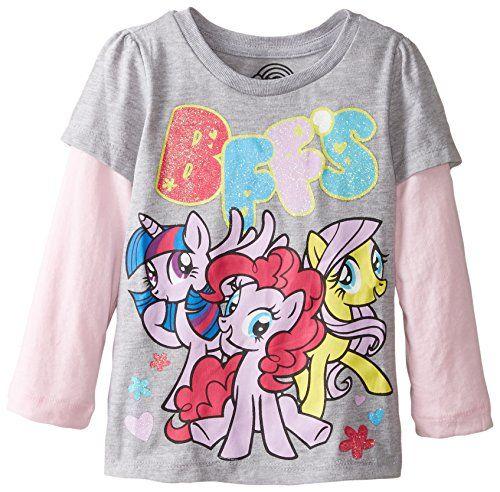 4e070248b13a My Little Pony Little Girls BFFS Toddler Girls Puff Long Sleeve Two-Fer Tee  Heather Grey/Light Pink @ niftywarehouse.com #NiftyWarehouse #MyLittlePony  ...