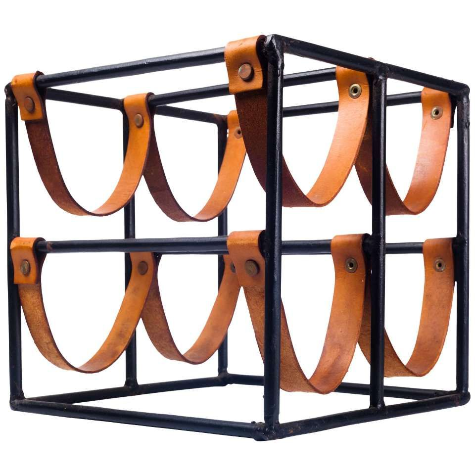 Küchenteppich Retro Vintage Wine Rack By Arthur Umanoff For Raymor In Leather Straps