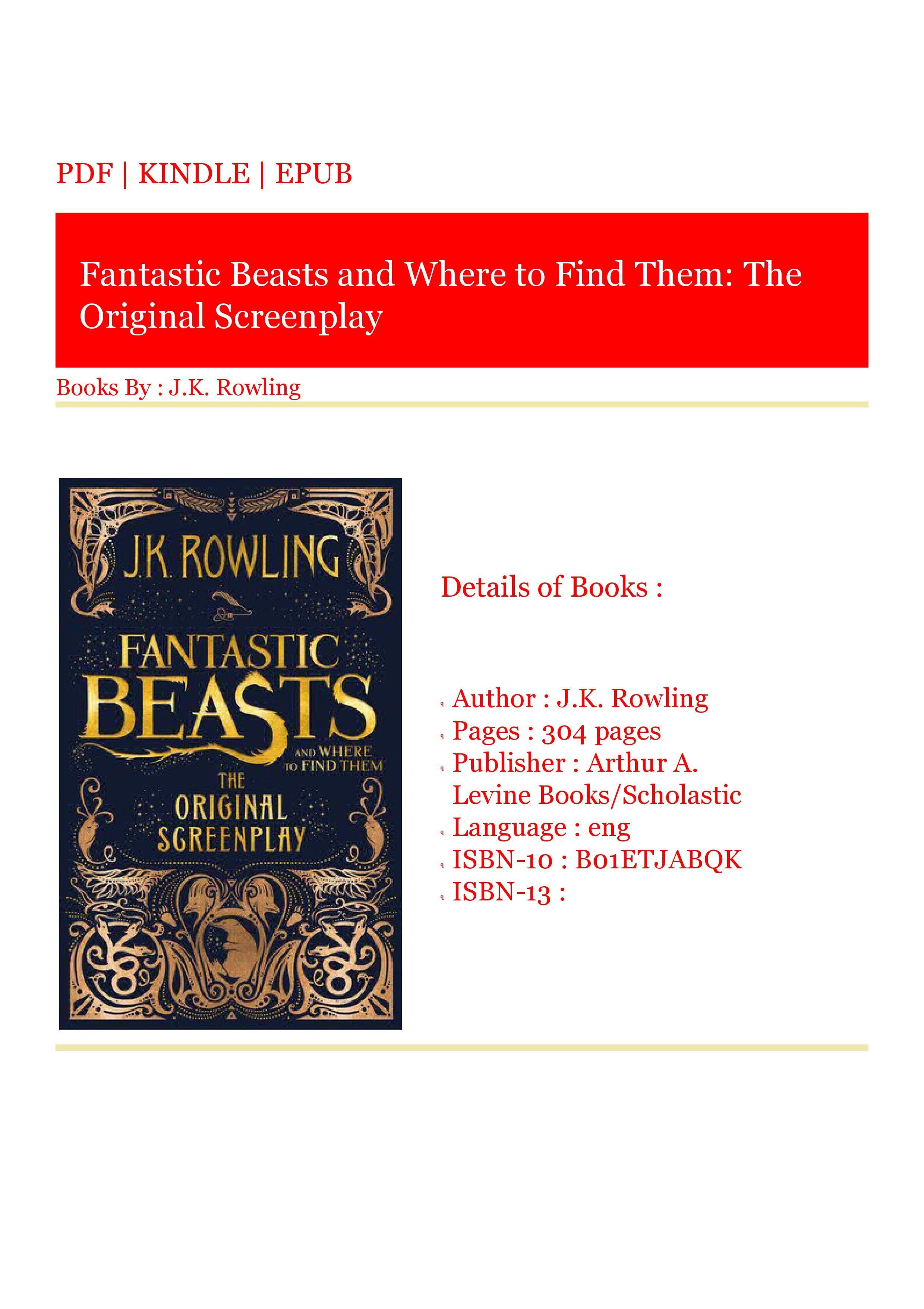***Download (PDF) Fantastic Beasts and Where to Find Them
