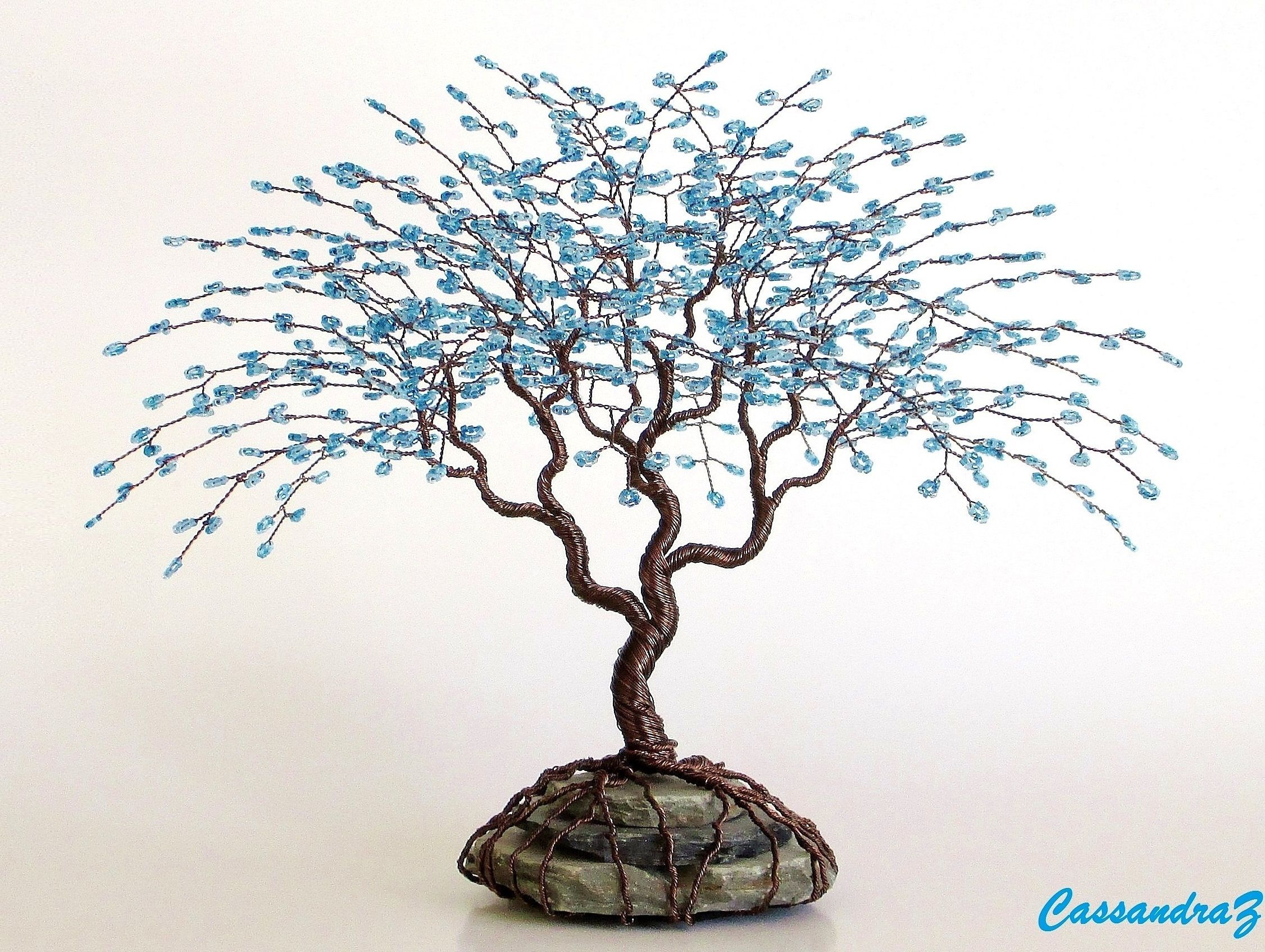 Blue Wire Tree Beaded Bonsai Sculpture 7.5\