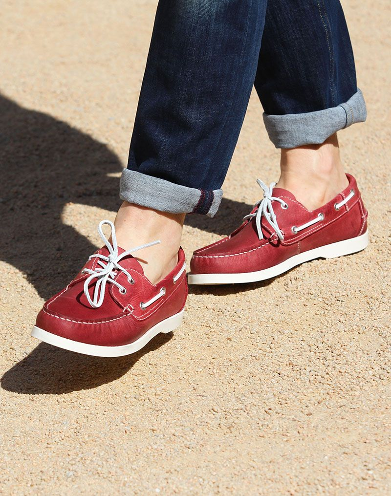 Chaussures bateau homme cuir rouge | Zapatos
