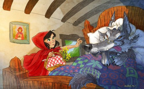 """aky-aky: """"What Big Ears You've Got"""" - Never really did anything on Little Red Riding Hood. I need some new stuff for my folio."""
