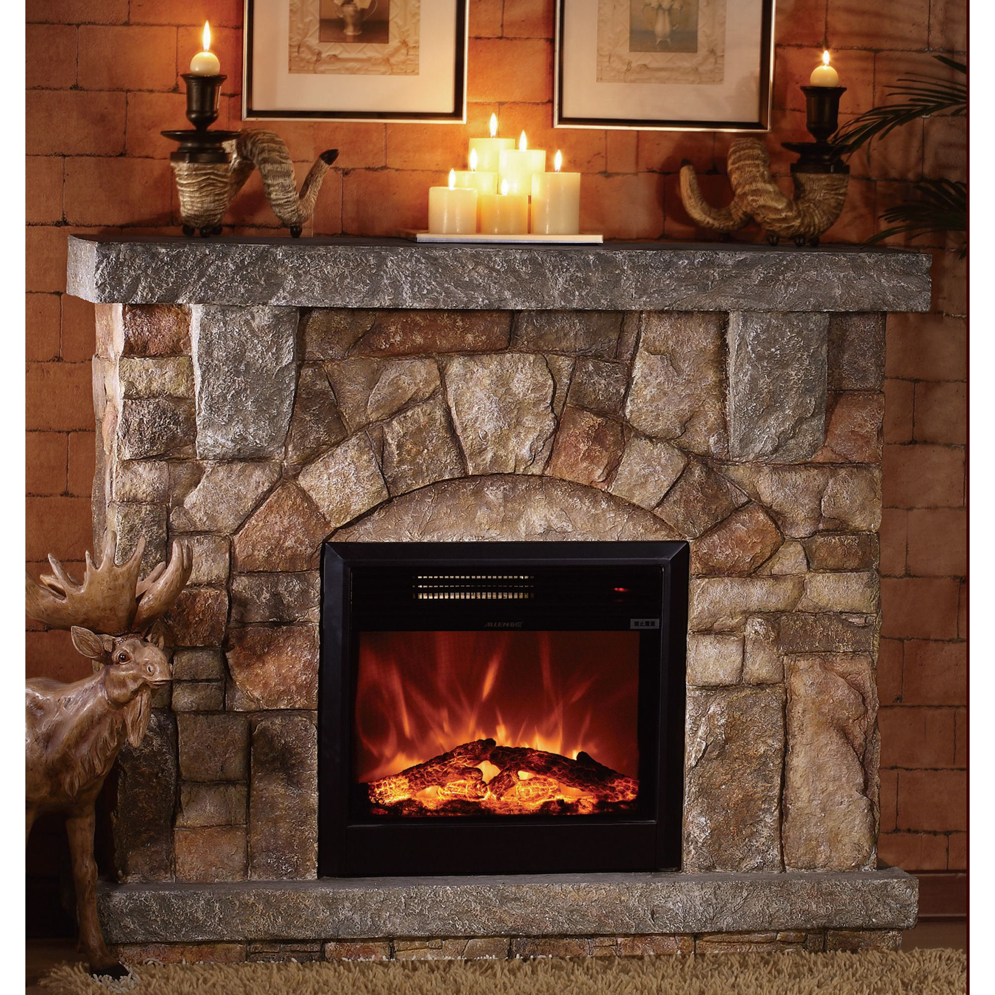 Unifire Polystone Electric Fireplace With Mantel 4400 Btu Model Wf01512 Electr Electric Fireplace With Mantel Stone Electric Fireplace Electric Fireplace