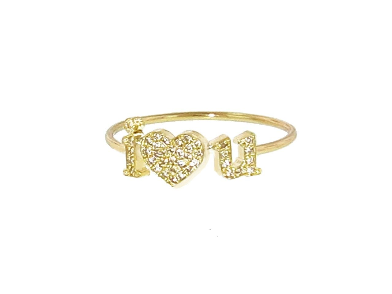 I <3 U Ring with Diamonds - Yellow Gold  by Jennifer Meyer, at Ylang 23