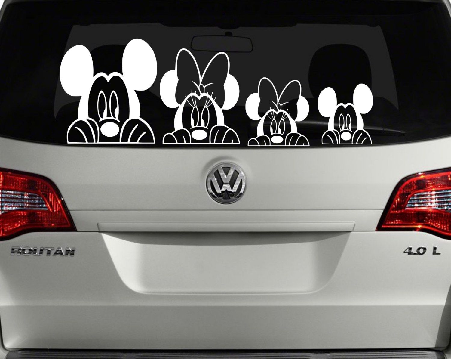 Mickey mouse minnie mouse peek a boo family daughter boy girl son baby peeking vinyl car decal mac book sticker laptop by kgdesigns16 on etsy