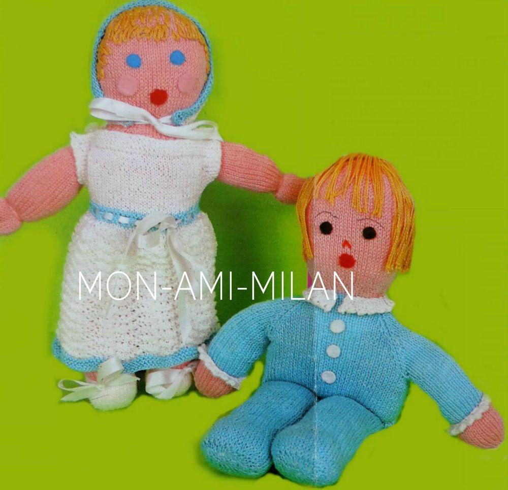 KNITTING PATTERN To Make GIRL & BOY TWIN BABY DOLLS Soft