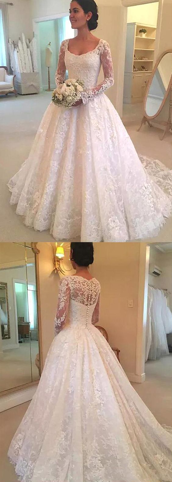 Lace ball gown wedding dress with long sleeves fashion bridal