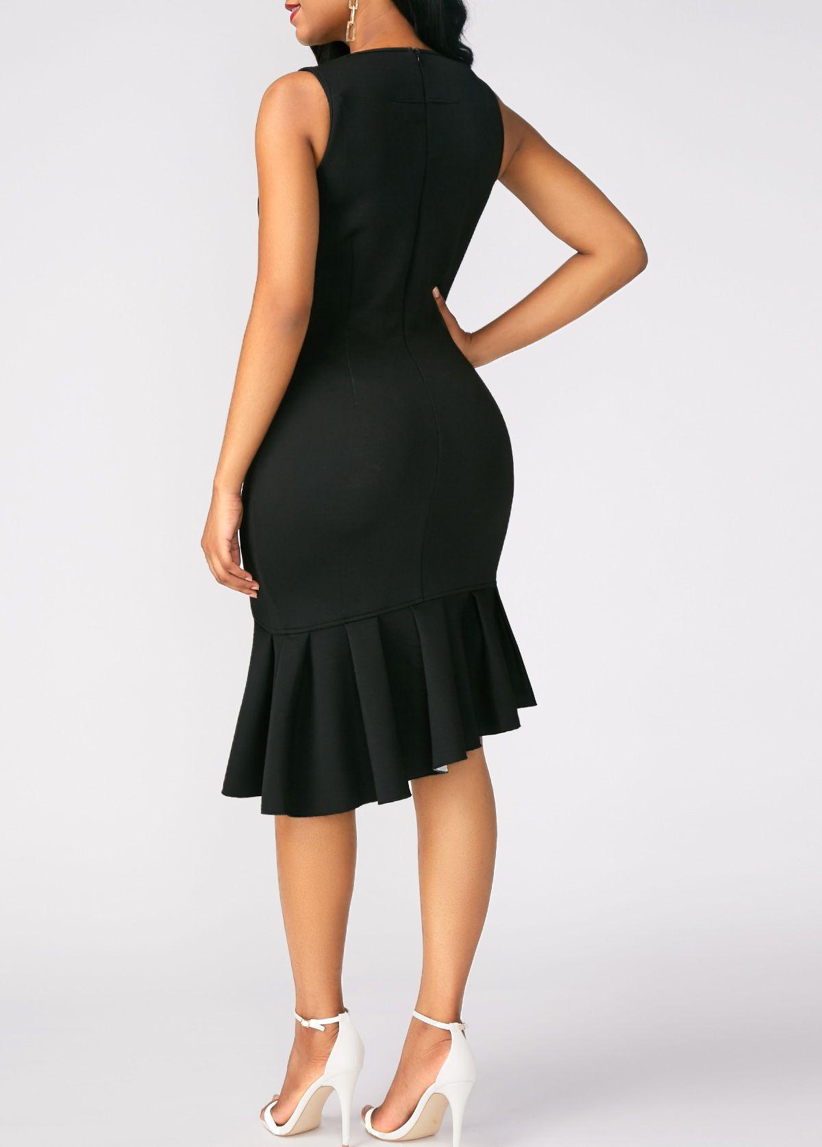 Sleeveless Black Peplum Hem Sheath Dress Rotita Com Usd 32 32 Sheath Dress Black Funeral Dress Black Sheath Dress [ 1674 x 1200 Pixel ]