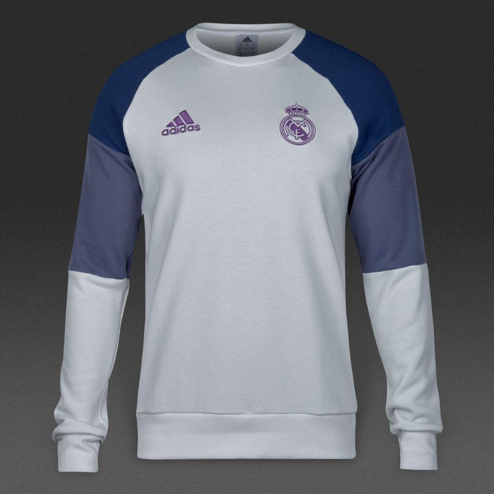 adidas Real Madrid 16/17 Sweat Top - Crystal White/Raw Purple