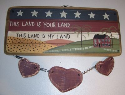Americana This Land Is Your Land Wooden Sign