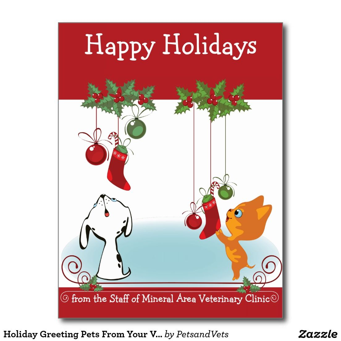 Holiday Greeting Pets From Your Veterinary Clinic Zazzle Com Pet Holiday Cards Holiday Greetings Business Holiday Cards
