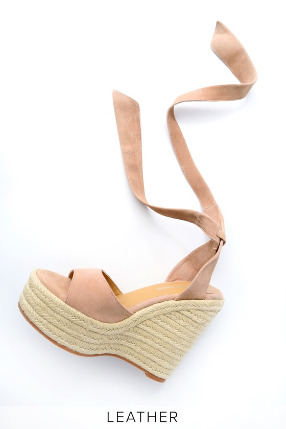 e6674163eb3 Lulus | Barca Blush Kid Suede Leather Lace-Up Espadrille Wedges ...